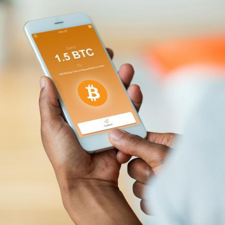 Bitcoin displayed on a smart phone
