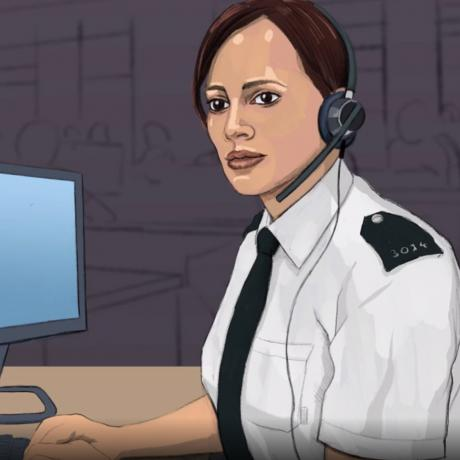 Animation of police officer at computer