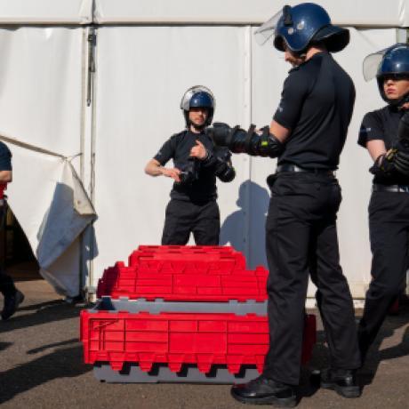 Police officers testing kit