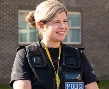 Smiling police officer