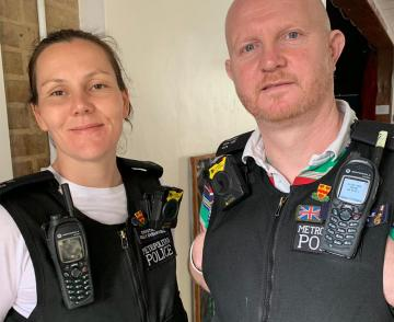 Police Constables Holly Breakwell, Volunteer Police Cadets Coordinator, and Gary Weedon, Safer Schools Officer – Metropolitan Police Service